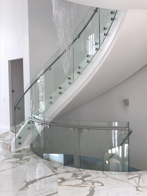 Curved Stair Gallery Vision Stairways And Millwork | Curved Glass Staircase Railing | Half Circle | Aluminium | Tuffen | Interior Modern Glass | Stone Glass