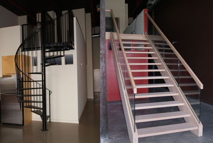 Custom Stair Build Glass and Open Riser