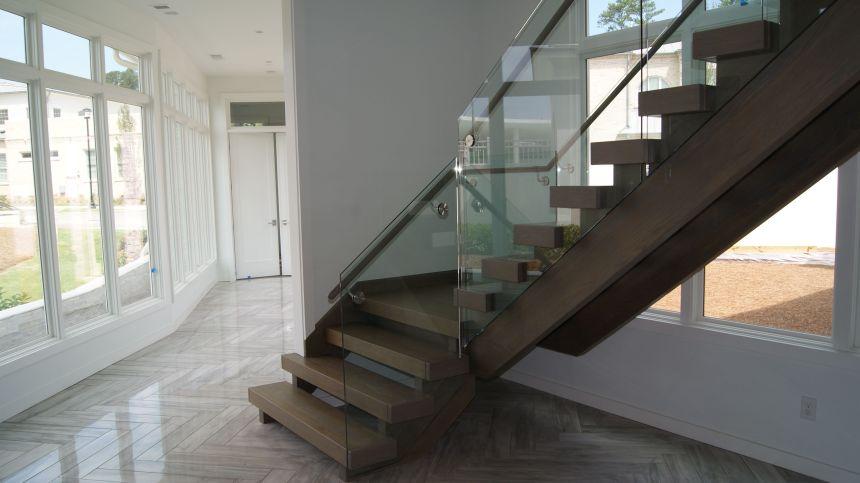 Dark Glass Open Riser Staircase