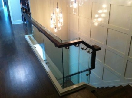 Dark Railing and Glass Staircase