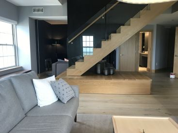 Modern Straight Stair and Wood Platform
