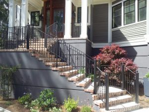 Wrought Iron Stair Railings and Glass Handrail Panels | Vision ...