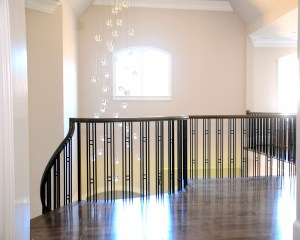Iron Baluster and Custom Wood Stair Railing