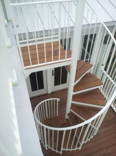 Aluminum Exterior Spiral Stair White Powder coated finish