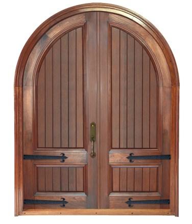 06 - Rustic Walnut Solid Double door with Iron straps