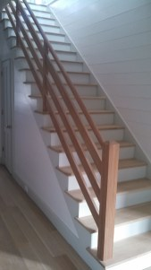 10 - Farmhouse straight stair with 2 x 6 rails