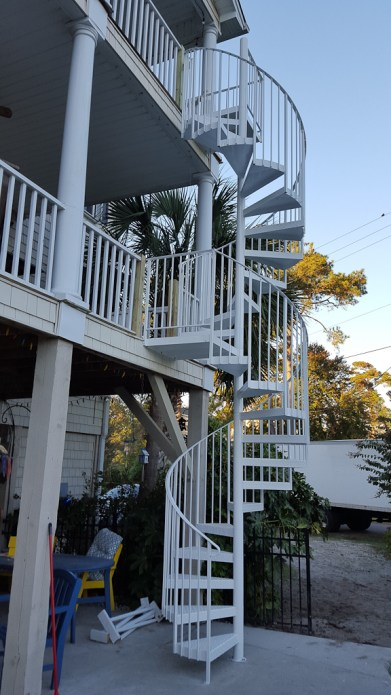 12 - Exterior Spiral stair all White Powder Coat finish