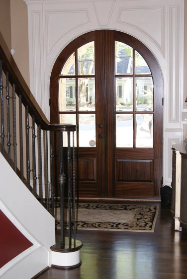 13 - Arched Mahogany 6 lite with clear glass