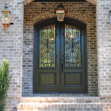 Iron and Wood Custom Front Door Black Finish