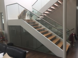 20 - Straight Sissor stair with open riser and stainless rails