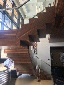 27 - Contemporary Walnut U Straight stair with Glass rail