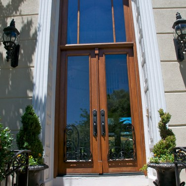 34 - Custom Double Mahogany french doors