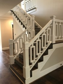 39 - Farmhouse Straight stair with Custom cut-out wood balusters