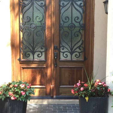 40 - Mahogany door with Forged Iron grills