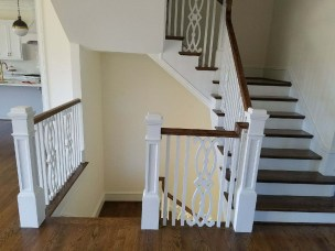 42 - Modern Farmhouse U Straight stairs with wood custom balusters