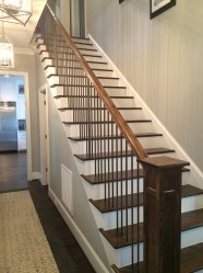 51 - Traditional Open stair with Box newel and Metal Balusters