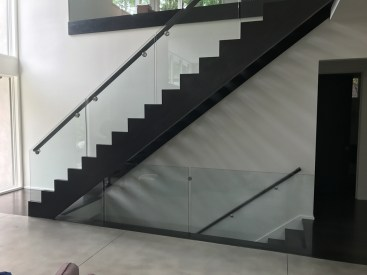 Contemporary Straight stair with Glass