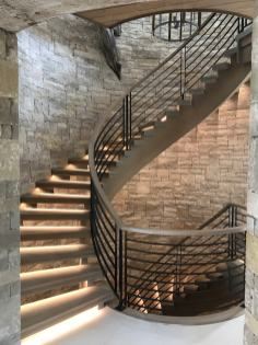 Modern Farmhouse Curve Stair with Cut Stringer