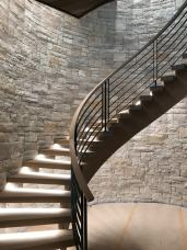 Modern Farmhouse Curved stair with open risers and treads