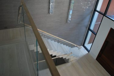 91 -Modern Stair with Glass and Wood Rail