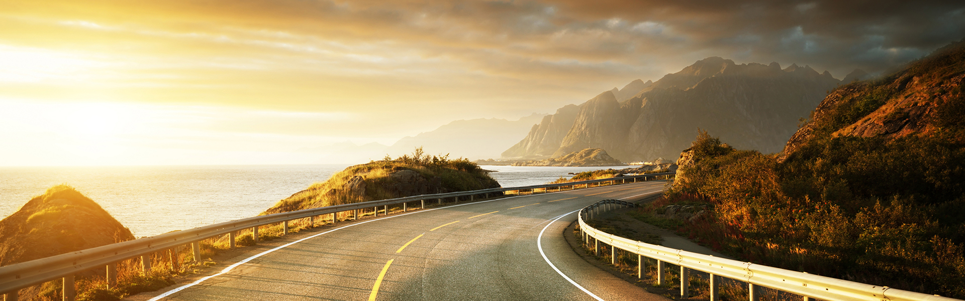 road by the sea in sunrise time