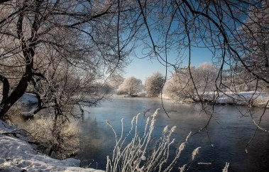 Winter on the river in Belarus