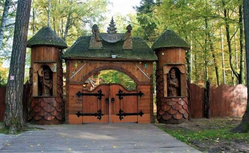 Small wooden gates in Bialowieza forest