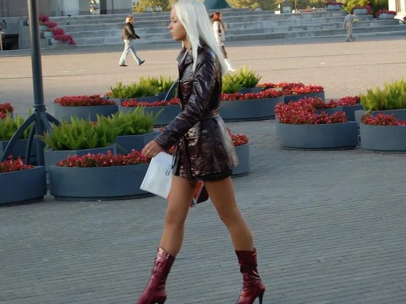 Beautiful blonde tall Belarus girl on the street in Minsk