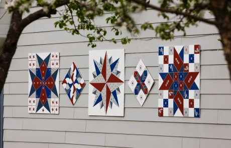 Five Patterned Barn Quilts