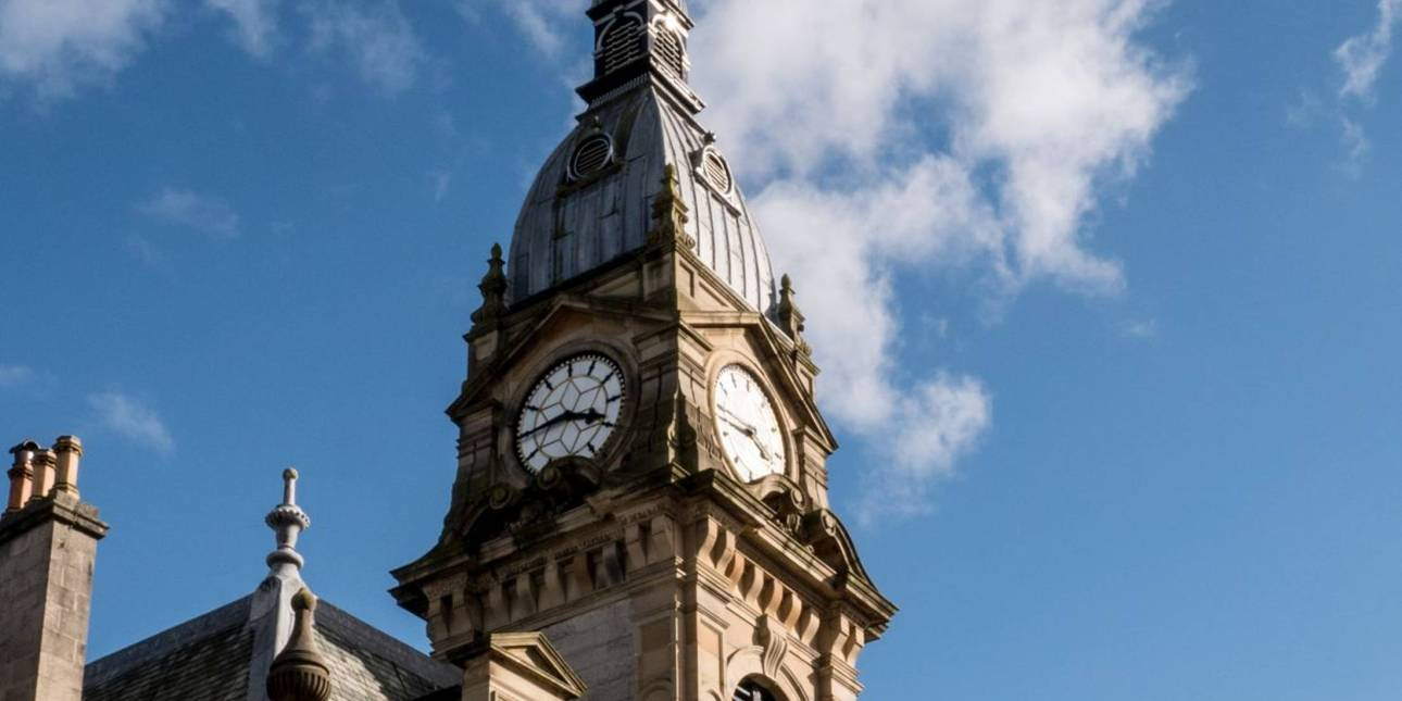 Kendal Town Hall's imposing clock tower