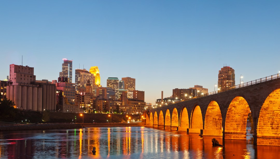 Shot of downtown Minneapolis with the Mississippi River in the foreground