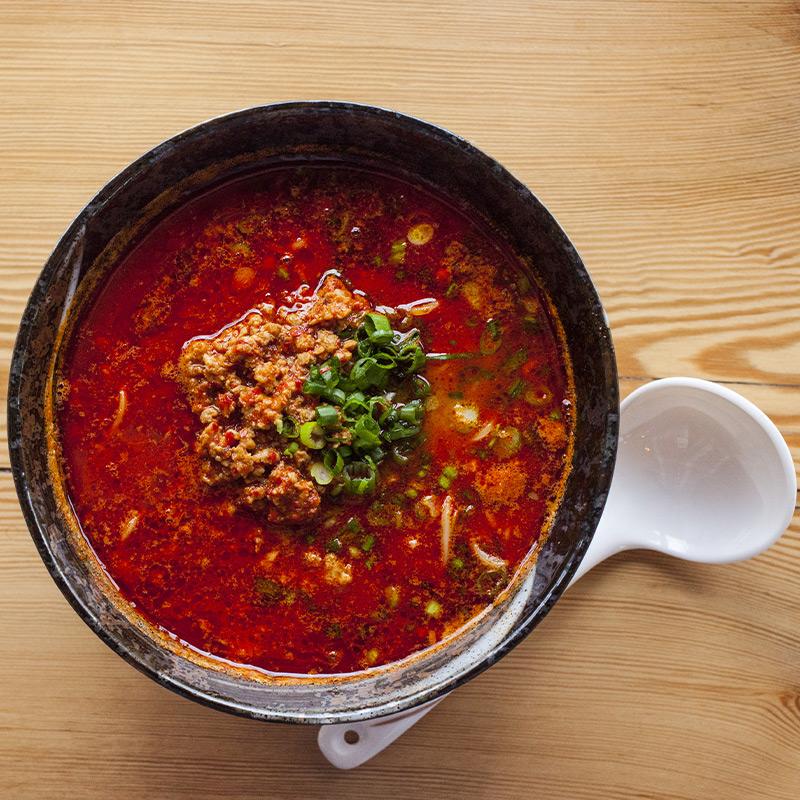 Ramen Kazama Dish with White Spoon