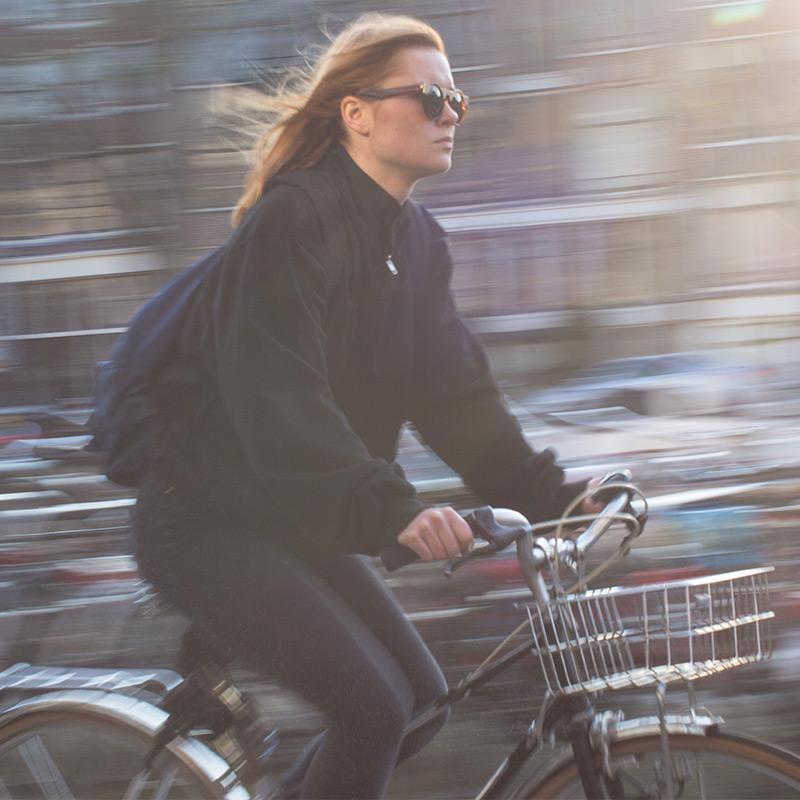 woman biking on cruiser bike