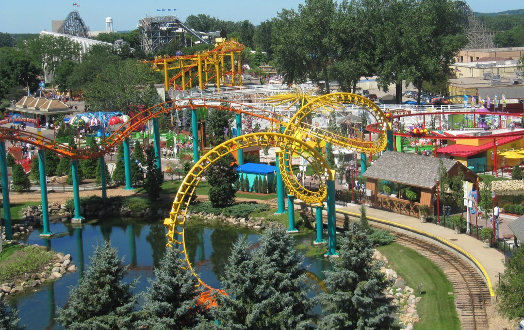 Valleyfair Landscape View of Rollercoasters and Attractions