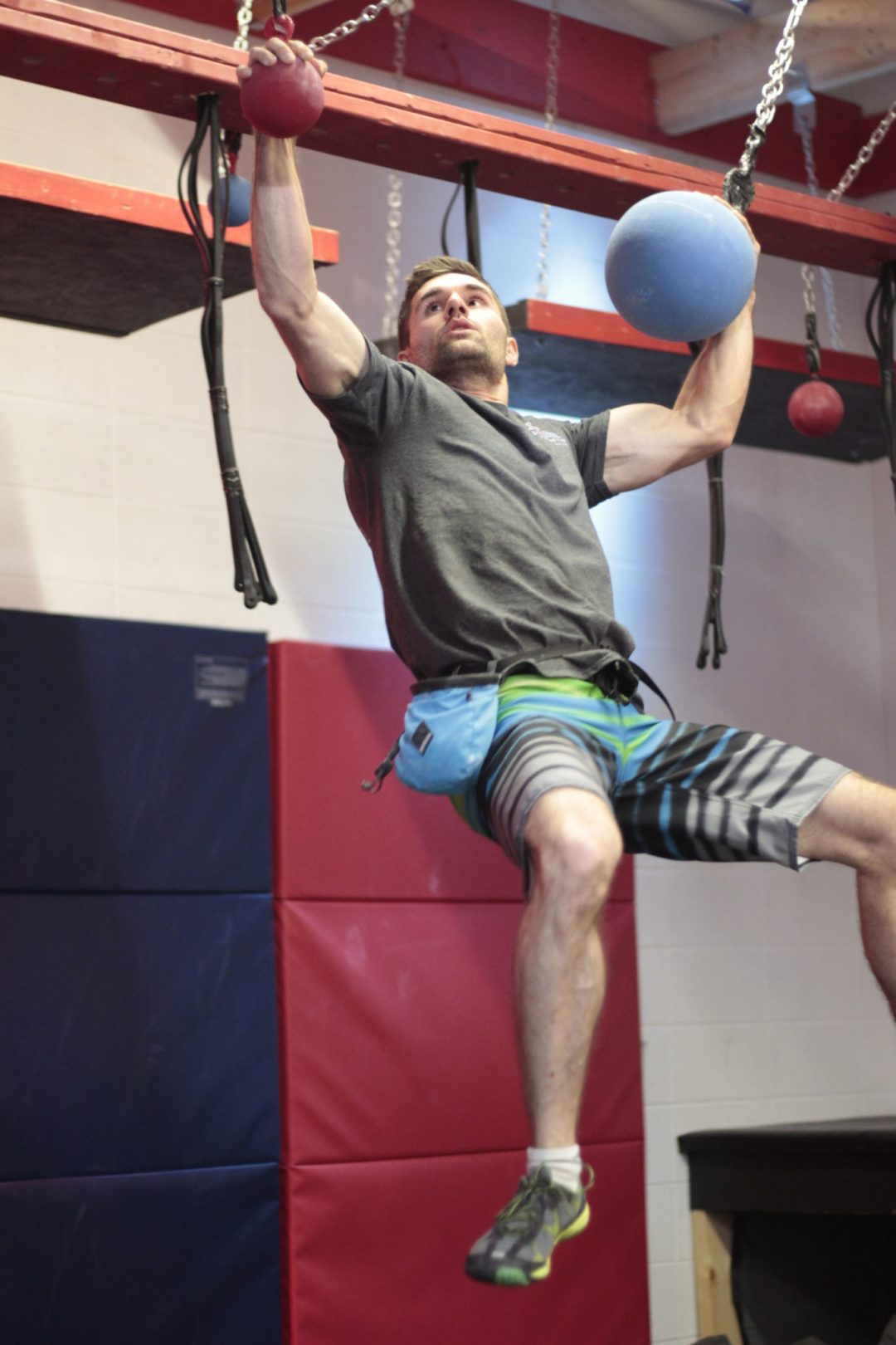 """Swinging Globes Obstacle. Image by  <a href=""""http://www.conquermn.com/"""" target=""""_blank"""">Conquer Ninja Warrior</a>"""