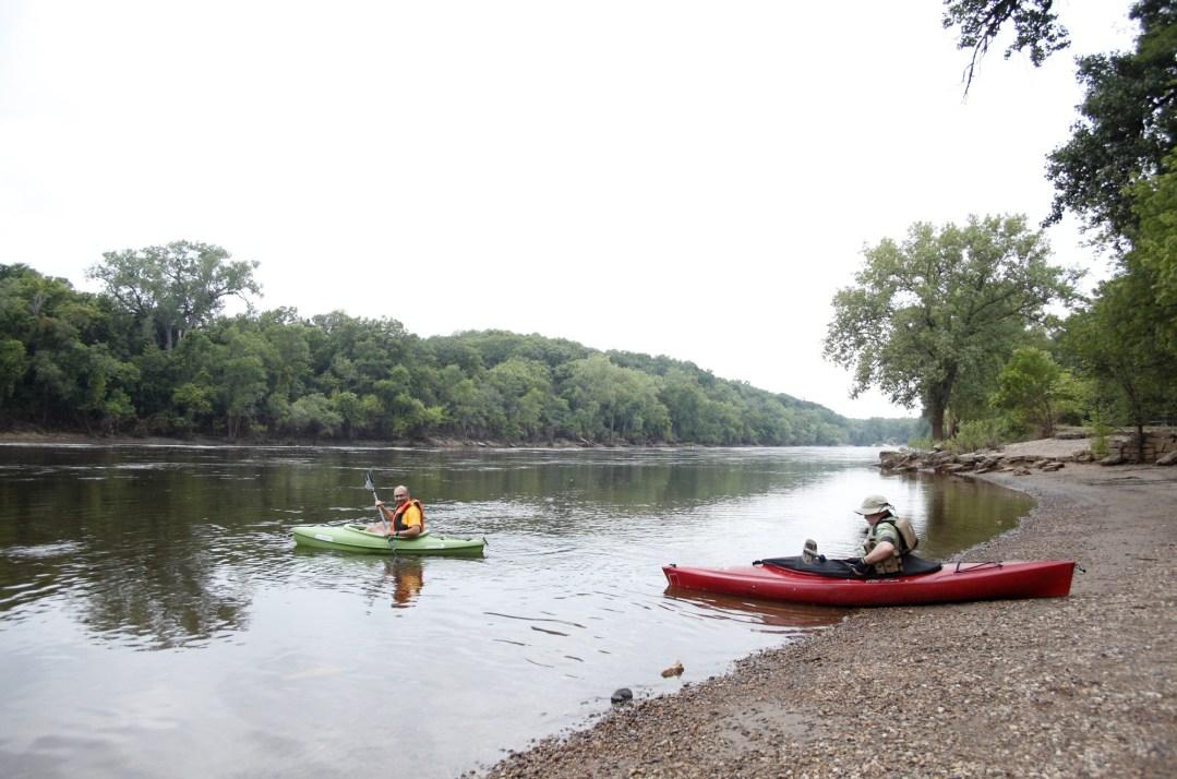 Canoes on Mississippi River
