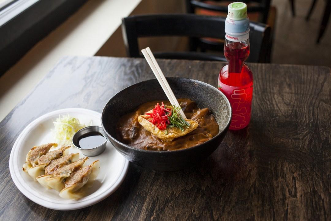 Gyoza, Vegan Curry Rice Bowl, Japanese Soda at Ramen Kazama Photo by Tj Turner/Greenspring Media