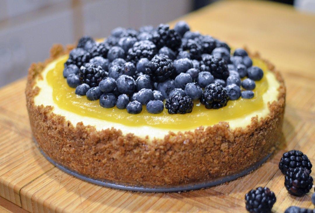 "Lemon cheesecake topped with lemon curd, blackberries and blueberries. Image by <a href=""https://flic.kr/p/obwthG"" target=""_blank"">jpellgen/flickr</a>"