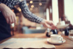 Breakfast in a coffee shop.