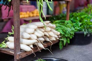 Chinese radish at a market.