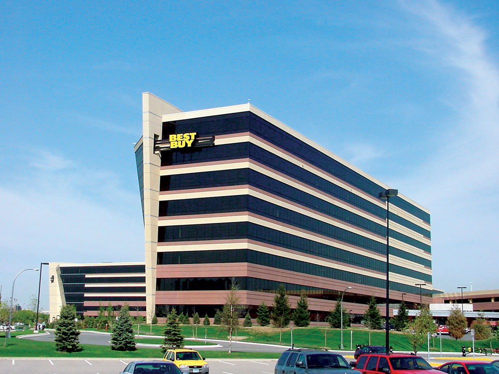 An outdoor shot of Best Buy's Headquarters on a sunny day.