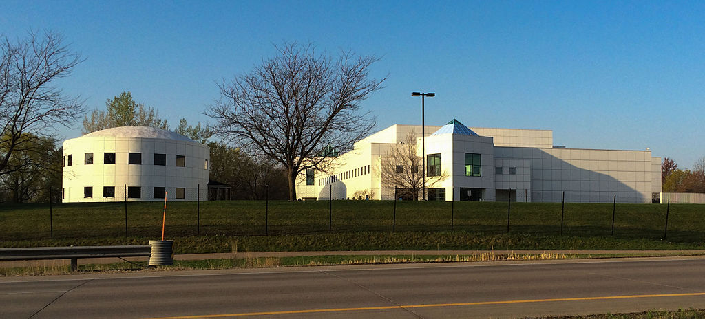 An image of Paisley Park taken from the street in Autumn.