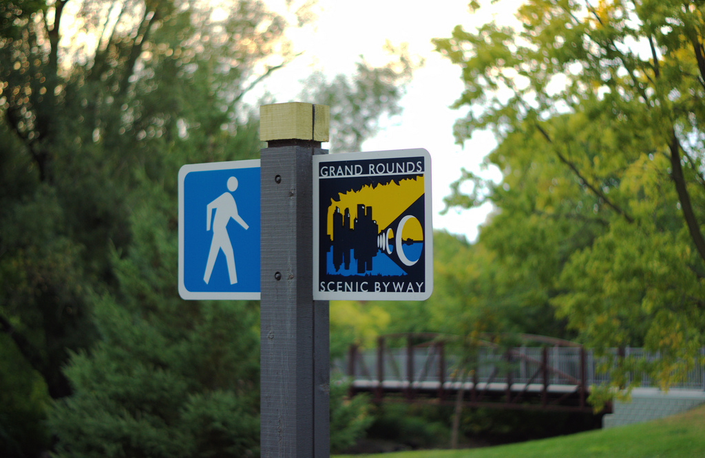 "Grand Rounds Scenic Byway sign. Image by <a href=""https://flic.kr/p/aqLFv7"" target=""_blank"">Nathan Moe/flickr</a>"