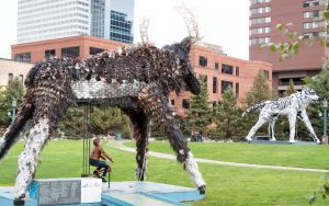 Two 18-foot sculptures in the middle of downtown Minneapolis.