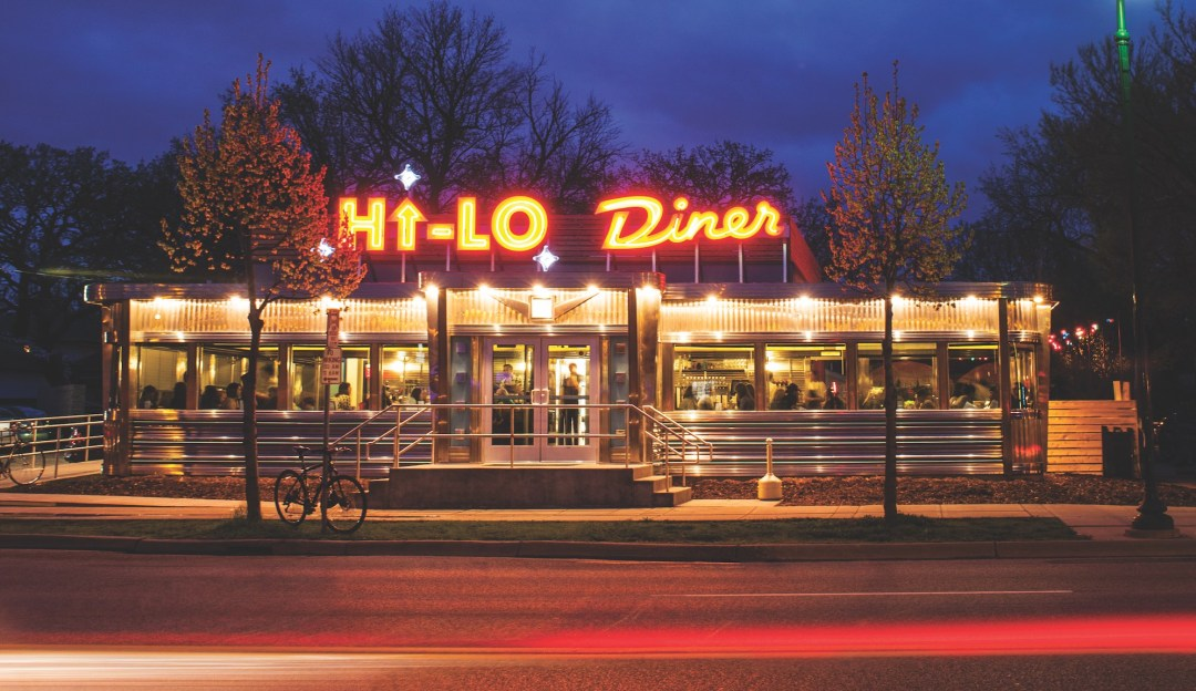 Nighttime exterior shot of 1950s-era Hi-Lo Diner