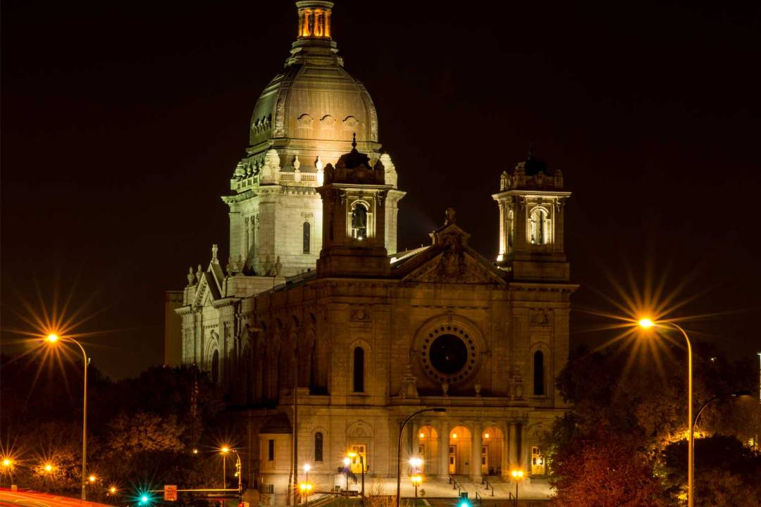 The Basilica of Saint Mary in Minneapolis at night. Seven Wonders of the Twin Cities.