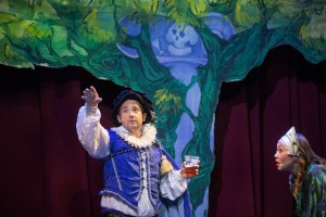 Two actors in Shakespeare's A Midsummer Night's Dream dressed in Renaissance era clothing at the Camp Bar theater.