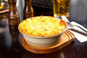 Baked Irish pie with mashed potatoes and meat