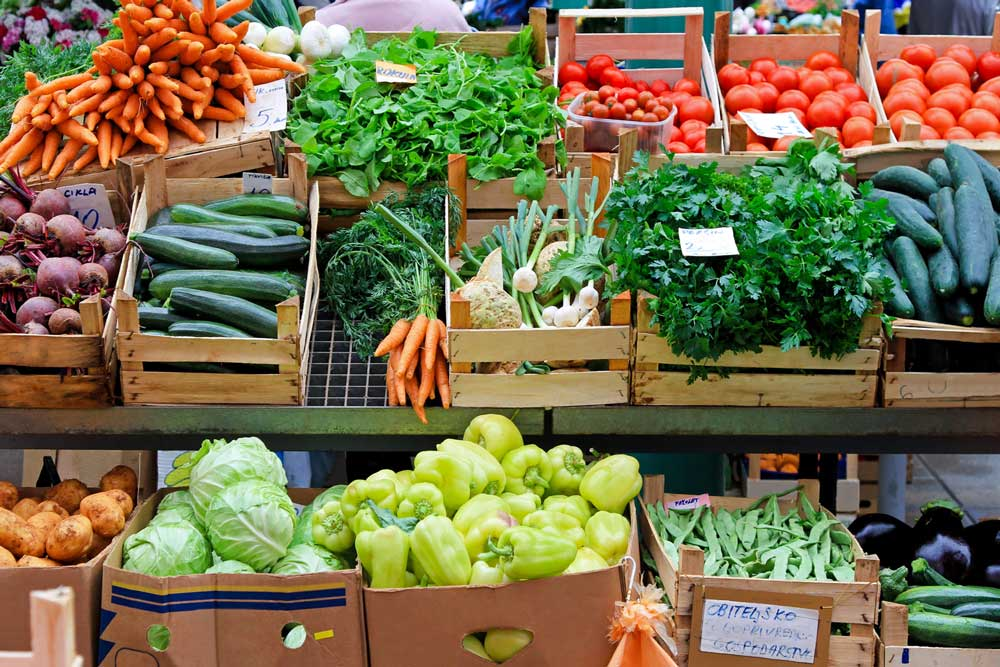 A variety of vegetables for sale at the Hmongtown Marketplace. One of the stops along the Metro Transit Green Line.