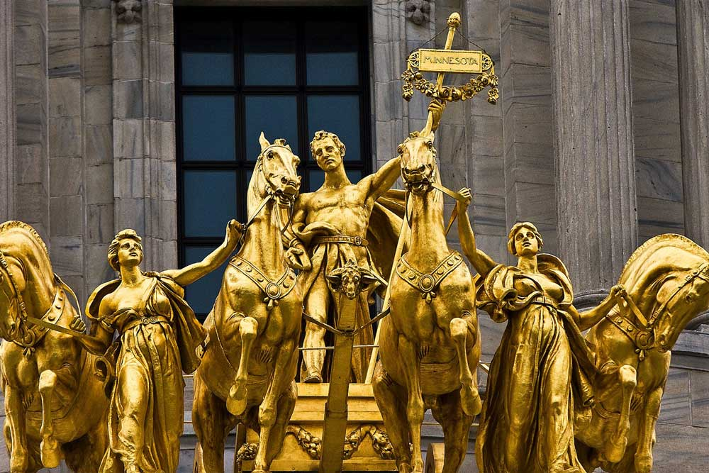 A close up of the Quadriga at the Capitol building, one of St. Paul's historic places.